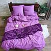 Полуторное постельное белье Ranforce однотоное сиреневое