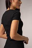 Приталенное хлопковое платье в рубчик до колена в 4 цветах в размере S, M, L, фото 8