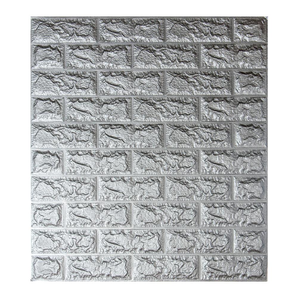 Декоративная 3D панель самоклейка под кирпич Серебро 700х770х5мм