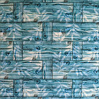 Самоклеющаяся декоративная 3D панель бамбуковая кладка бирюза 700x700x8.5мм
