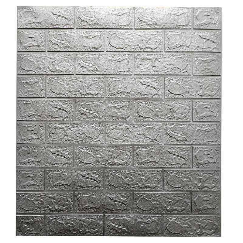 Декоративная 3D панель самоклейка под кирпич Серебро 700х770х3мм