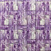 Самоклеющаяся декоративная 3D панель бамбуковая кладка фиолет 700x700x8мм