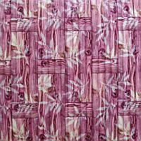 Самоклеющаяся декоративная 3D панель бамбуковая кладка розовая 700x700x8мм