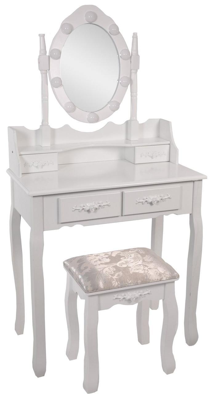 Туалетный столик Vanesa белый с подсветкой Трюмо в спальню