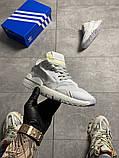 Чоловічі/жіночі кросівки Adidas Nite Jogger Triple White, фото 6