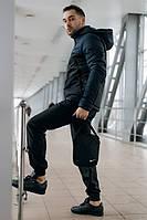 Комплект мужской спортивный, анорак теплый сине-черный + штаны President + в подарок барсетка