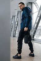 Комплект мужской спортивный, анорак теплый синий + штаны President + в подарок барсетка