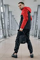 Комплект мужской спортивный, анорак теплый красно-черный + штаны President + в подарок барсетка