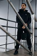 Комплект мужской спортивный, анорак теплый черный + штаны President + в подарок барсетка