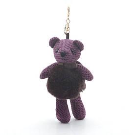 """Брелок """"Медведь в жилетке"""" фиолетовый"""