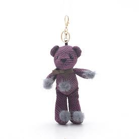 """Брелок """"Мишка с помпонами"""" фиолетовый"""
