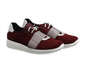 Замшевые бордовые кроссовки на белой подошве