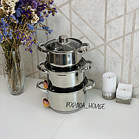 Набор кастрюль из нержавеющей стали Edenberg 6 предметов. Набор кухонной посуды из нержавейки EB-3733