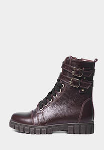 Практичные бордовые ботинки из кожи