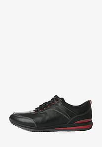 Мужские кожаные кроссовки черного цвета с красными вставками 1369467335