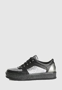 VM-Villomi Кеди з натуральної шкіри в комбінації чорного і сріблястого кольорів