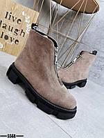 Женские замшевые демисезонные ботинки на молнии 36-40 р бежевый, фото 1