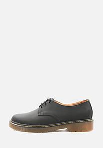 Мужские кожаные черные туфли на платформе
