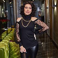Блуза с открытыми плечами, Ткань: рубчик хб+сетка с флоковым горохом (42-58), фото 1