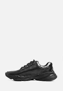 Черные кожаные мужские кроссовки с перфорацией