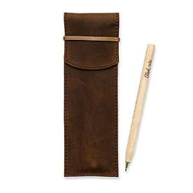 Кожаный чехол для ручек 1.0 темно-коричневый