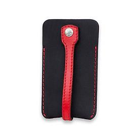 Кожаная ключница 1.0 черная с красным