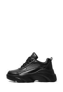 VM-Villomi Стильні шкіряні чорні кросівки на високій платформі