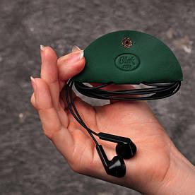 Кожаный холдер для наушников зеленый