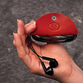 Шкіряний холдер для навушників корал