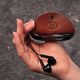 Шкіряний холдер для навушників світло-коричневий