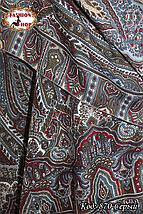 Женский серый павлопосадский палантин Пелагея, фото 2