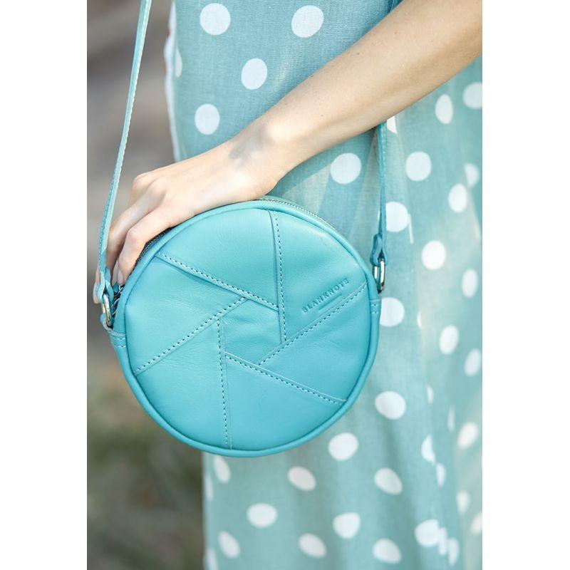 Кругла шкіряна жіноча сумка Бон-Бон бірюзова