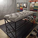 Банкетка в коридор з полицями для взуття, м'яке сидіння., фото 3