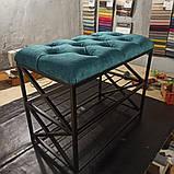 Банкетка в коридор з полицями для взуття, м'яке сидіння., фото 2