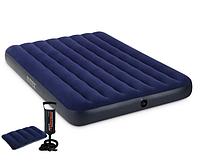 Комплект! Матрас надувной полуторный Intex 64758, 137х191х25 см + ручной наcоc + 1 подушkа