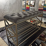 Банкетка для обуви Лофт с мягким сиденьем. Каретная стяжка, фото 2
