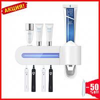 Диспенсер для зубной пасты и держатель щеток аккумуляторный со стерилизатором Аксессуары для ванных комнат