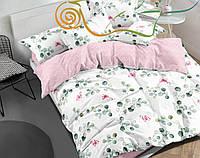 Сатиновое двуспальное постельное белье на белом цветы