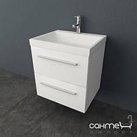 Мебель для ванных комнат и зеркала Kolpa-San Навесная шкаф-тумба с умывальником из литого мрамора Kolpa-San Jolie OUJ 60 белый (WH) + шампань (CHA)