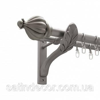Карниз для штор металлический ТАДЖА двойной 25+19мм РЕТРО 2.4м Сатин никель