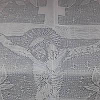 Покривало тюль з шовком біле, фото 1