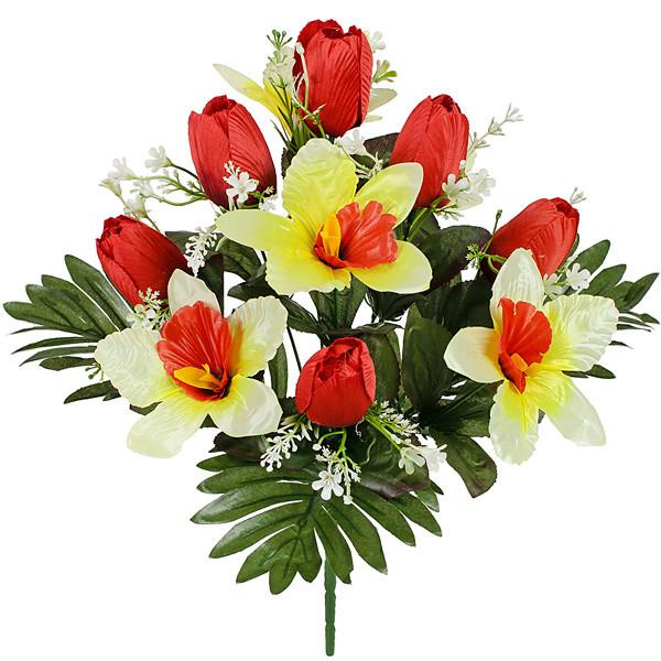 Штучні квіти Букет тюльпанів пластикової листям, 34см (20 шт в уп.)
