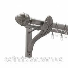 Карниз для штор металлический ОДЕОН двойной 25+19мм РЕТРО 3.0м  Сатин никель