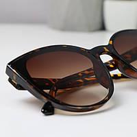 Солнцезащитные очки женские круглые кошачьи глазки 1971 Коричневые