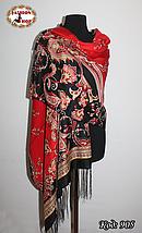 Павлопосадский красный палантин Восточный цветок, фото 2