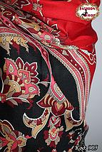 Павлопосадский красный палантин Восточный цветок, фото 3