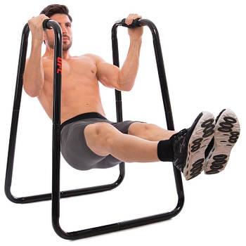 Еквалайзер тренувальний з еспандером UFC DIP STATION (метал, р-р 85х67х105см, чорний)