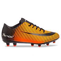 Бутсы футбольная обувь детская Pro Action VL17562-TPU-28-35-BKO BLACK/ORANGE размер 28-35 (верх-TPU,