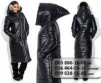 Стильная женская куртка удлиненного фасона с необычным капюшоном черная