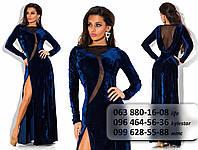 Роскошное женское длинное платье из бархата, украшенное сеткой темно-синее